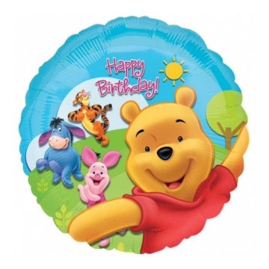 45 cm-es Micimackó Happy Birthday fólia lufi