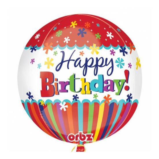 Orbz -Happy Birthday fólia lufi, 40 cm