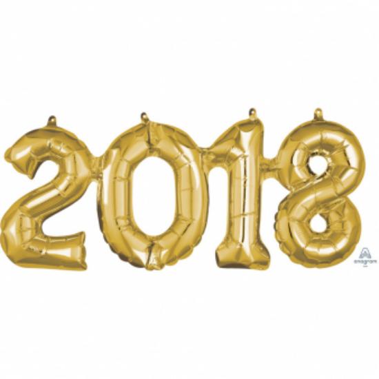 33 cm-es arany színű 2018-as szám fólia lufi