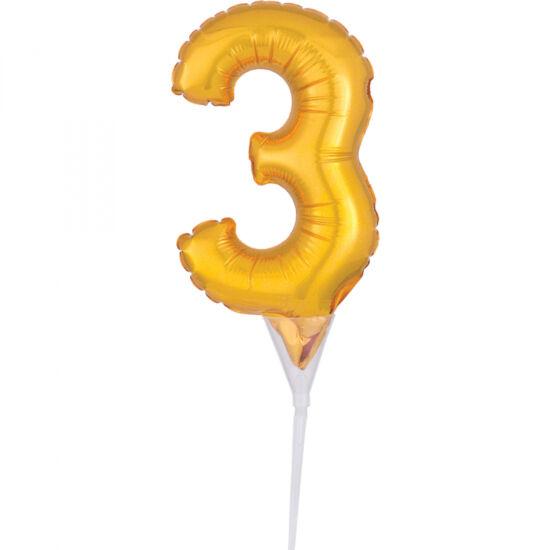 15 cm-es tortára szúrható, arany színű 3-as szám fólia lufi