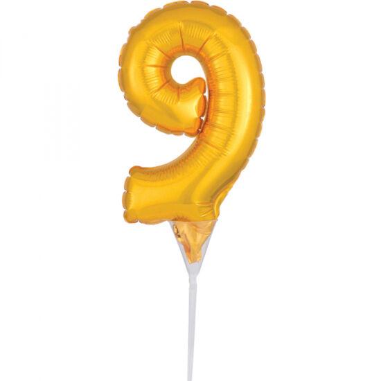 15 cm-es tortára szúrható, arany színű 9-es szám fólia lufi