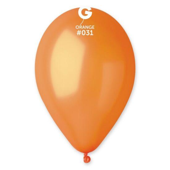 30 cm-es metál narancssárga gumi léggömb 100 db/cs.