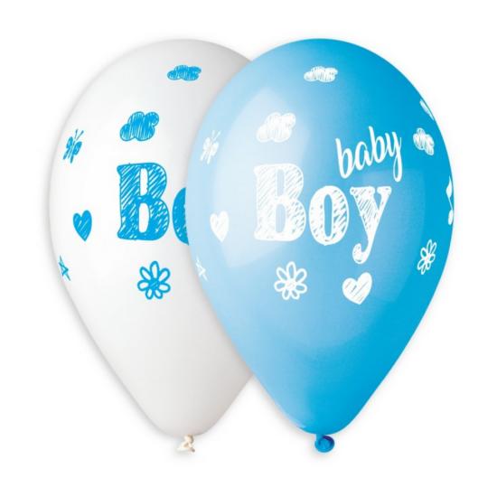 33 cm-es baby Boy feliratú, printelt fehér-baby kék gumi léggömb 10 db/cs.
