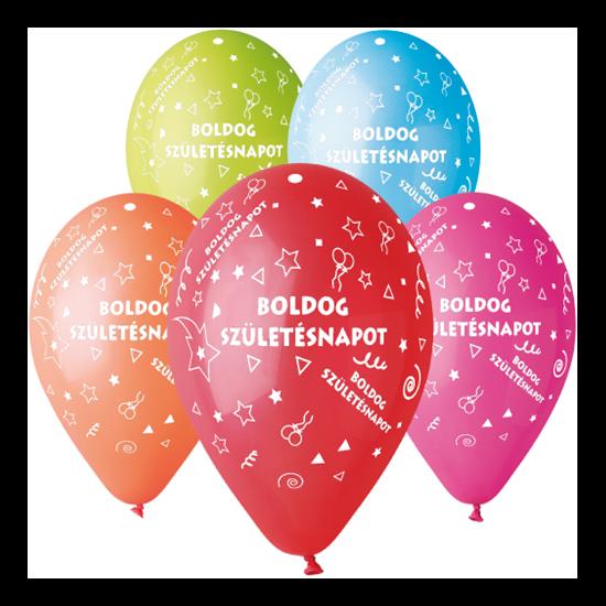 30 cm-es Boldog Születésnapot printelt léggömb 10 db/cs