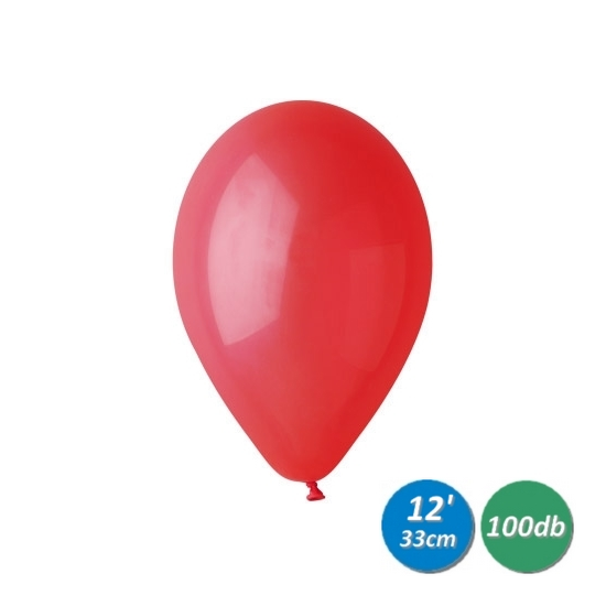 33 cm-es piros gumi léggömb 100 db/cs
