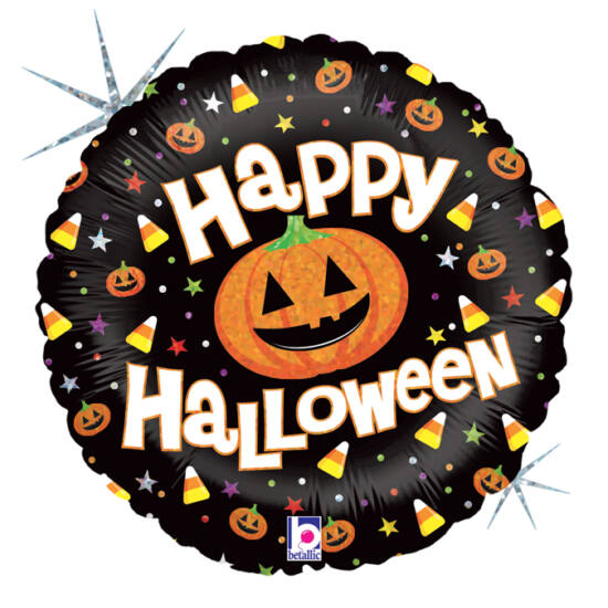 46 cm-es Happy Halloween feliratos, hologrammos fólia lufi