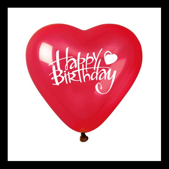 25 cm-es piros, szív alakú gumi léggömb Happy Birthday felirattal, 10 db