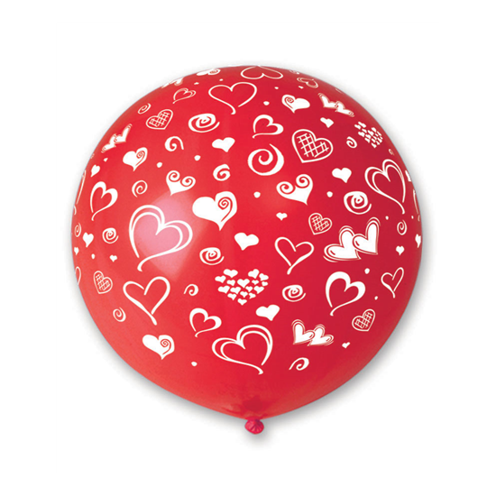 80 cm-es szíves piros gumi léggömb